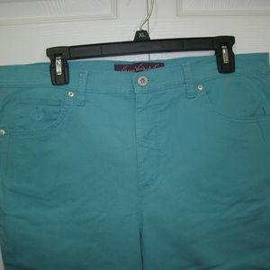 Gloria Vanderbilt Teal Jeans, Embellished, 14P